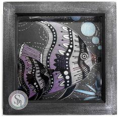"6"" square frame. Made Using Spectrum Noir Colorista Dark 'Under the Sea' pad and the Colorista Dark Designer Tags 2. Spectrum Noir Metallic Pencils: purple, pink, violet, silver, blue, green. Designed by Jayne Rhodes #crafterscompanion #spectrumnoir #spectrumnoircolorista #adultcolouring"
