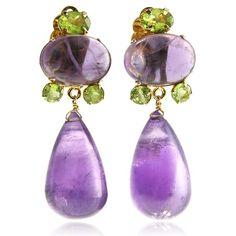 Bounkit Amethyst & Faceted Peridot Earrings ($345) ❤ liked on Polyvore featuring jewelry, earrings, accessories, gioielli, jewels, earring jewelry, amethyst jewelry, peridot earrings, facet jewelry and amethyst earrings