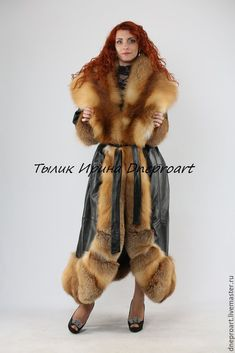 Leather coat the Queen of spades with the fur of a Fox moth – shop online on Livemaster with shipping - Fur Fashion, Fashion Outfits, Fabulous Furs, Fur Clothing, Fox Fur Coat, Fur Collars, Fur Jacket, Fur Trim, Types Of Fashion Styles