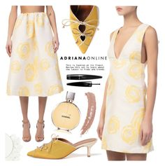"""""""ADRIANA ONLINE: White+Yellow"""" by adrianaonline ❤ liked on Polyvore featuring ittse, Ganni, Malone Souliers, Chanel, Guerlain and Topshop"""