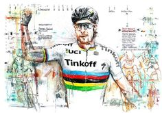 Peter Sagan celebrates his first win with the rainbow bands at Gent-Wevelgem. Will he do the same again this weekend at the Ronde? Illustration from Horst Brozy.