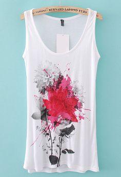 White Scoop Neck Sleeveless Peony Print Vest - Sheinside.com