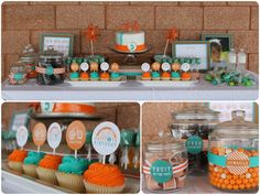teal blue and orange cupcakes!! @ http://www.blogdetwin.com Bodas del Blog de Twin