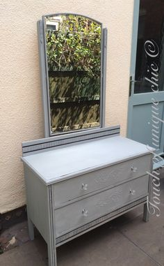 Dressing table painted in annie sloan Paris grey distressed and waxed Dressing Table Paint, Dressing Tables, Annie Sloan Paris Grey, Outdoor Furniture, Outdoor Decor, Desks, Bedroom Ideas, Storage, Painting