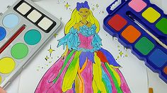 Princess Barbie  Best Watercolor Painting / Coloring Pages  for Preschoo...