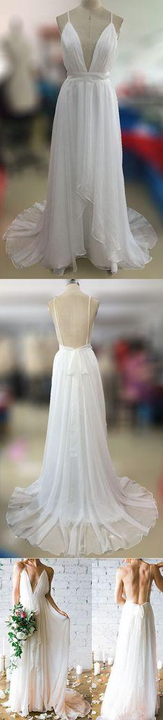 Affordable Simple Open Back White V Neck Beach Wedding Dresses, PM0606
