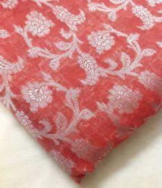 Indian Silk  Chanderi Silk Fabric in Peach Pink  by DesiFabrics