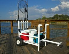 Carreta surf casting This looks like it would be The Bomb for Pier fishing but unless in soft sand without high flotation tires. Fishing Pole Holder, Fishing Cart, Gone Fishing, Kayak Fishing, Fishing Tips, Fishing Boats, Cat Fishing, Fishing Stuff, Sport Fishing