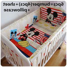 43.80$  Buy now - http://ali6zj.worldwells.pw/go.php?t=32457149034 - Promotion! 6/7PCS Mickey Mouse Baby Crib Bed Sets Cribs For Babies Quilt Cover,Can Be Customized Cot Bedding ,120*60/120*70cm