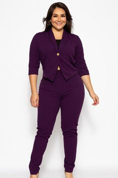 Made In Classic pant suit set, featuring and sleeve cropped blazer and a tapered pant. Polyester Spandexeggplant purple color Women's Plus Size Classic Pant Suit Set split Tie Dye Maxi, Cropped Blazer, Plus Size Pants, Spandex, Two Piece Outfit, Wide Leg Pants, Skinny Pants, Plus Size Fashion, Jackets For Women