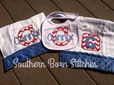 Baby boy minky appliquéd and monogrammed burp cloth and bib chevron set by SouthernBornStitches on Etsy