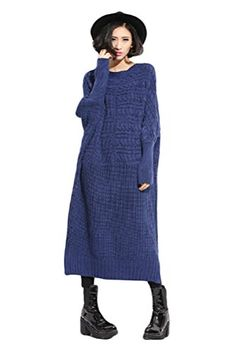 Generic Women's Long Sleeve Knitwear Long Sweater Dress Blue Generic http://www.amazon.com/dp/B00QEMQTJ4/ref=cm_sw_r_pi_dp_EvcFub083AXKF