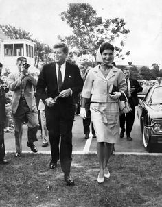 The President and Mrs. Kennedy leaving mass at St. Francis Xavier, Hyannis Port 8/6/61