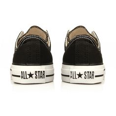 Chuck Taylor Ox Converse Black ($64) ❤ liked on Polyvore featuring shoes, sneakers, converse, sapatos, women, black canvas shoes, black trainers, converse shoes, black sneakers and low profile shoes