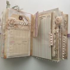 Shabby chic junk journal I wish it would be Christmas all year long! Junk Journal, Album Journal, Journal Paper, Scrapbook Journal, Journal Covers, Scrapbook Cover, Handmade Journals, Handmade Books, Mini Albums