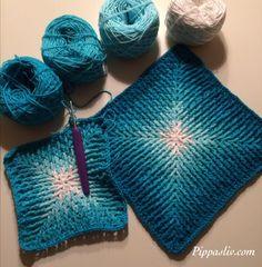 Crochet Ripple Afghan, Crochet Squares, Crochet Motif, Crochet Yarn, Crochet Stitches, Crochet Patterns, Crochet Potholders, Manta Crochet, Knitting
