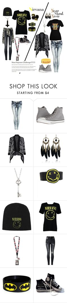 """""""A-Z Challenge N: Nirvana/Never Shout Never"""" by alexandria-wolf-palayeroyale ❤ liked on Polyvore featuring Pilot, Converse, City Chic, WithChic, Vivien Frank Designs, Hot Topic and Boohoo"""