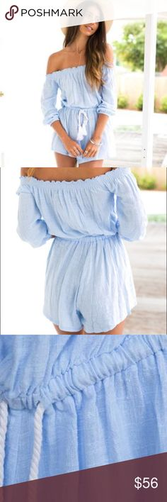 NEW! Blue Solance Off the Shoulder Playsuit Romper This beautiful baby blue playsuit is this springs must have! Please note AUS sizing. Available in M {10} and L {12}.  Mura Boutique. Chosen as a Best in Retail HP on 7/31/16!  Beautiful baby blue playsuit  Textured linen-look 100% cotton  Elasticated wrist cuffs and waist Unlined  Relaxed fit  No stretch to fabric  64cm from upper bust line to hem  MODEL MEASUREMENTS: Lori wears size 8/S Height - 176cm Bust - 81cm Waist - 61cm Hips - 89cm…