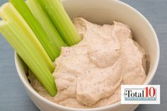 Total 10 Almond Butter Greek Yogurt Dip: Enjoy your favorite veggies with this dip that's full of healthy fats, probiotics and protein!
