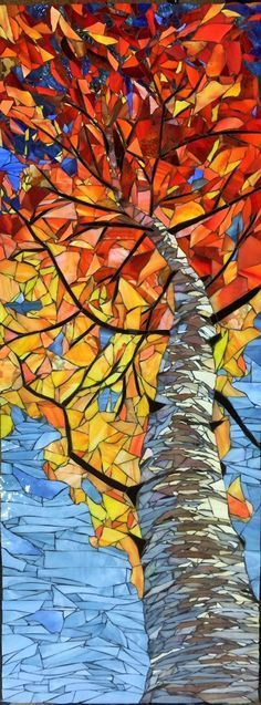 "Skyward Birch – Autumn x – Mosaic by Debra D'Souza Skyward Birch – Autumn 48 ""x – Mosaïque par Debra D '# Souza Mosaic Crafts, Mosaic Projects, Stained Glass Projects, Stained Glass Patterns, Mosaic Patterns, Stained Glass Art, Stained Glass Windows, Mosaic Ideas, Mosaic Glass Art"