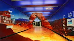 San Francisco's Bay Area Rapid Transit (BART) riders face an unexpected scene at the Montgomery Street Station. With a clever illustration, the station's tunnel is reborn as one of Utah's scenic icons – the Delicate Arch in Arches National Park Environmental Graphics, Environmental Design, Creative Advertising, Marketing And Advertising, Online Advertising, San Francisco Subway, Floor Graphics, Visit Utah, St Francis