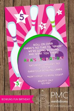 Bowling Party Invitations  1.00 each with by PaperMonkeyCompany, $1.00