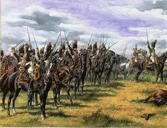 Los Granaderos a Caballo de la Guardia Imperial antes de su carga contra el centro aliado en Waterloo