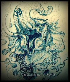 This is one fierce, strong elephant. I have seen a rogue elephant once, and an elephant can truly be fearsome. Cover Up Tattoos, Body Art Tattoos, Sleeve Tattoos, Hindu Tattoos, Asian Tattoos, Thailand Tattoo, Thailand Art, Tattoo Design Drawings, Tattoo Sketches