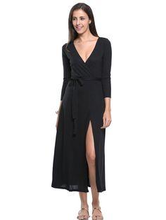 Black Wrap Front Plunge Long Sleeve Split Maxi Dress