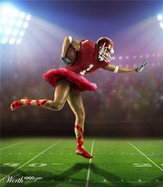 "new sport?  football + ballet = ""footBALLet"" (how to get husbands and wives to watch the superbowl together  :-)"