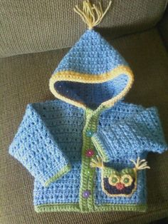 vickiplunkett's Cozy Crocheted OWl Sweater – Dream Fashion Crochet Baby Sweaters, Crochet Baby Cardigan, Crochet Baby Clothes, Baby Knitting, Crochet Hoodie, Crochet For Boys, Love Crochet, Knit Crochet, Crochet Crafts