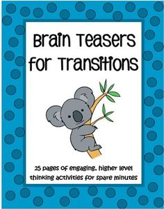 Great for higher level thinking skills. This set of 25 pages with more than 250 higher level thinking activities are perfect when you have an extra five minutes. Awesome to have on hand for a substitute too! $