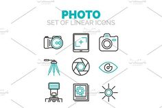 Set of vector photography icons. Human Icons
