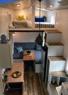Rocky Mountain by Tiny Heirloom - Tiny Living The Rocky Mountain is a modern tiny house on wheels designed and built by Tiny Heirloom . Tyni House, Tiny House Living, Home Living Room, Small Living, Rv Living, Tiny House Family, House Stairs, House Floor, Apartment Living