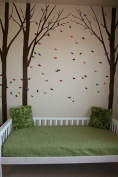 Woodland Kids Bedroom- theme would be perfect for both genders. This is something I could get behind passionately...I wouldve loved this as a little girl. Maybe our ridiculous green carpets would blend in better with the earth tones and forest vibes.