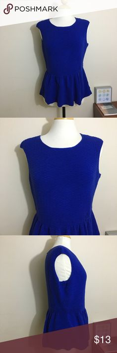 Worthington Blue Sweater Peplum Top Perfect for colder weather. Cute Peplum top in a textured sweater material. Keyhole at the nape of the neck. Gorgeous jewel tone blue. Good used condition. Live long and poshper 🖖🏼 Worthington Tops Blouses
