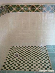 MexicanTiles.com - Bathroom Wall with Zihuatanejo Mexican Talavera Tile