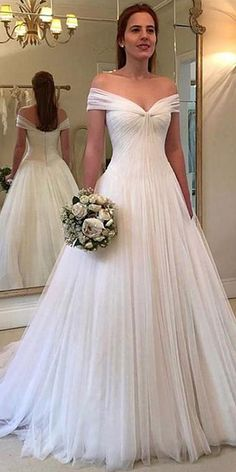 NEW! Elegant Tulle Off-the-shoulder Neckline A-line Wedding Dresses With Pleats