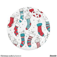 Shop Christmas socks paper plate created by katstore. Holiday Cards, Christmas Cards, Christmas Paper Plates, Party Tableware, White Elephant Gifts, Paper Napkins, Biodegradable Products, Custom Design, Art Pieces