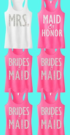 Cute #Wedding Tank Tops for the #Bride and #Bridesmaids. Perfect for the Bachelorette Party! Mix and match to fit your Bridal party. Only $127.95 for 6, click here to buy https://www.etsy.com/listing/188900296/bridal-wedding-6-tank-tops-15-off-bundle?ref=shop_home_active_4