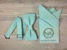 Mint Men's Wedding Set Bow Tie & Pocket by BartekDesign on Etsy