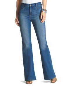 Chico's Women's So Slimming Girlfriend Flare Jeans, Roxanne Indigo, Size: .5 (6 - S) REG