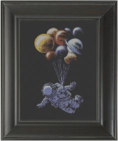 """Astronaut'"" - From CrassCross. The cross stitch pattern to make this piece is available for just $5. http://crasscross.com/collections/miscellaneous/products/astronaut-cross-stitch-pattern-chart"
