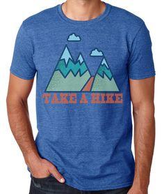 Take a Hike Men's T-shirt Graphic Tee Cool Tshirt by ArtisanTees Cat Shirts, Cool T Shirts, Trekking Outfit, Fox Shirt, Hiking Shirts, Hiking Gear, Personalized T Shirts, Custom T, Shirt Designs