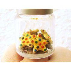 Miniature Food Ring Cookies In Jar Kawaii Food Jewelry Stars And... ($15) ❤ liked on Polyvore