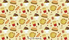 this print consists of a collection of junk food items. You can see french fries, hot dogs, pizzas and ice creams. The color palette is really warm and comfor Powerpoint Free, Creative Powerpoint, Pizza Shack, Food Patterns, Layout Template, French Fries, Food Items, Junk Food, Layout Design