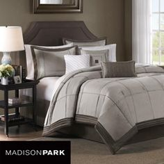 Madison Park Brookfield Sage Queen-size Comforter Set - Overstock Shopping - Great Deals on Madison Park Comforter Sets Queen Size Comforter Sets, Queen Size Duvet Covers, Duvet Sets, Duvet Cover Sets, Queen Bedding, Bed Covers, Gray Bedroom, Bedroom Colors, Bedroom Decor