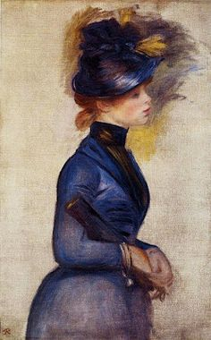 """young woman in bright blue at the conservatory"" 