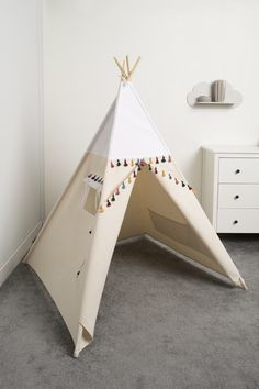 children teepee tent, kids play tent, tipi, teepee tent, indian wigwam White Boho by cozydots on Etsy Kids Tents, Teepee Kids, Teepee Tent, Teepees, Indian Teepee, Childrens Teepee, Rustic Nursery, Tent Camping, Family Camping