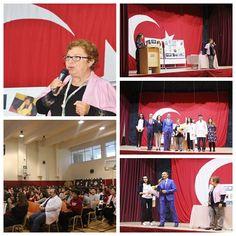 """2017 """"Türk Dili Derneği Onur Ödülü""""nü alan Feyza Hepçilingirler Özel Mürüvvet Evyap Koleji ve Fen Lisesi öğrencileriyle buluştu."""